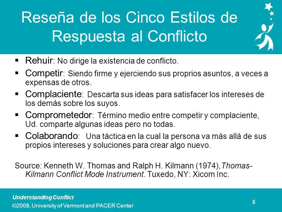 6 Understanding Conflict ©2008, University of Vermont and PACER Center Actividad en Grupo: Explorando Su Estilo Personal Sobre el Conflicto Basado en las definiciones ofrecidas, escoja el estilo que mejor describe como Ud.
