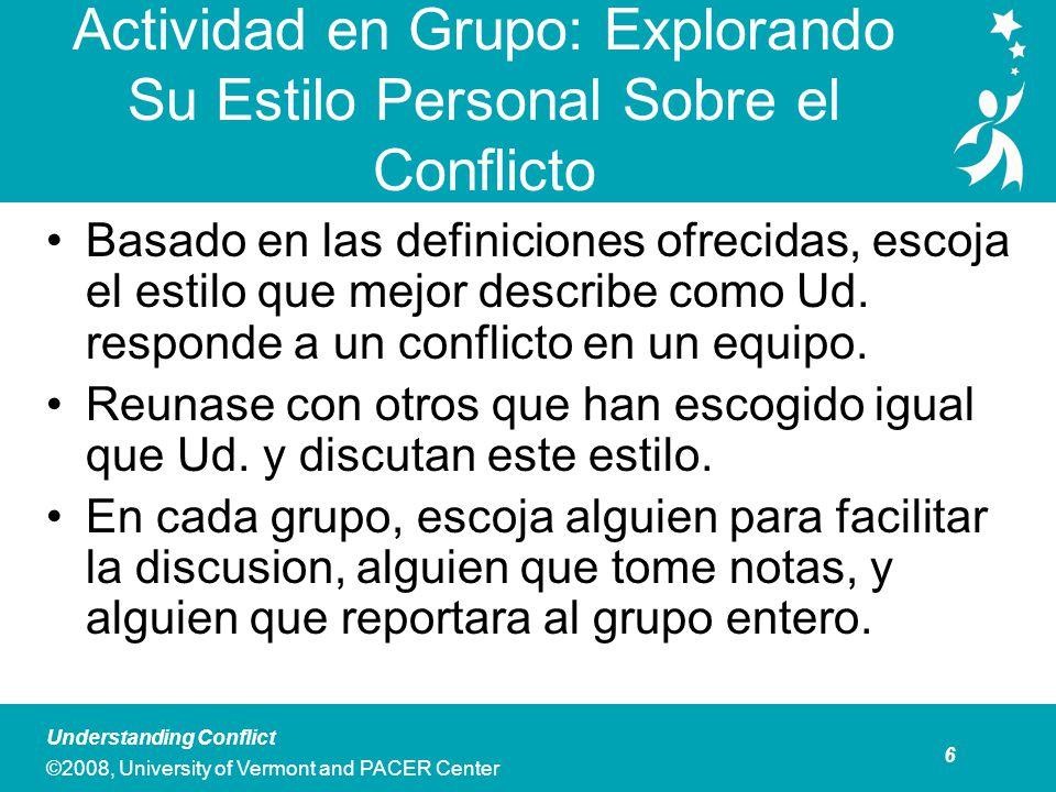 27 Understanding Conflict ©2008, University of Vermont and PACER Center Caso de Estudio: Preguntas para Discutir ¿Cuáles son los conflictos primarios que Ud.