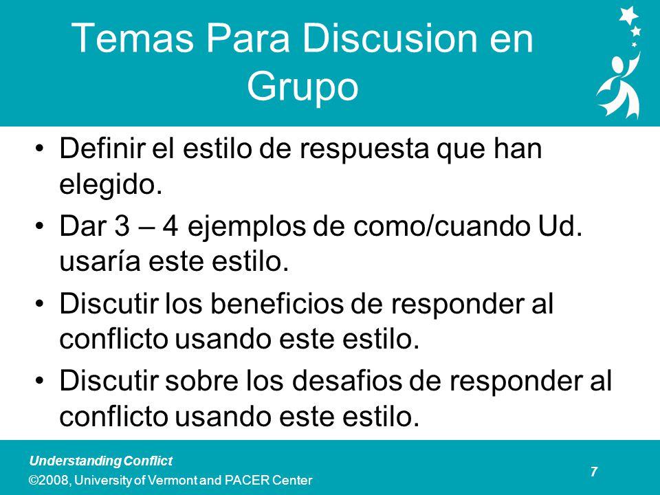 7 Understanding Conflict ©2008, University of Vermont and PACER Center Temas Para Discusion en Grupo Definir el estilo de respuesta que han elegido.