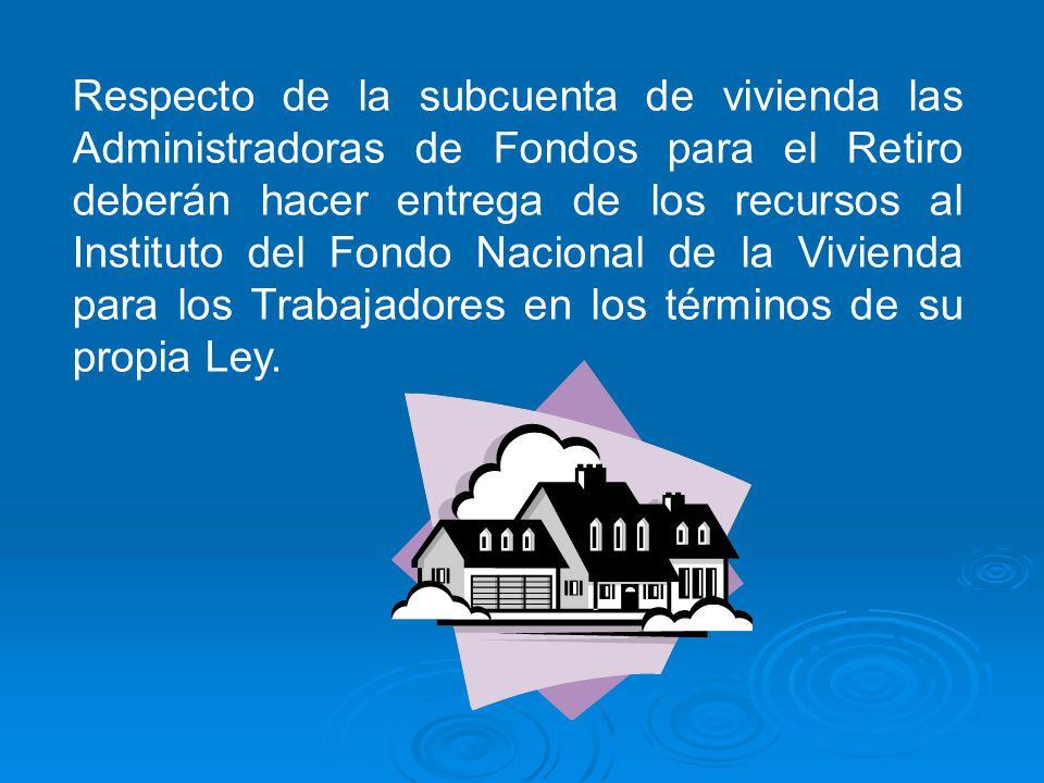 Respecto de la subcuenta de vivienda las Administradoras de Fondos para el Retiro deberán hacer entrega de los recursos al Instituto del Fondo Naciona