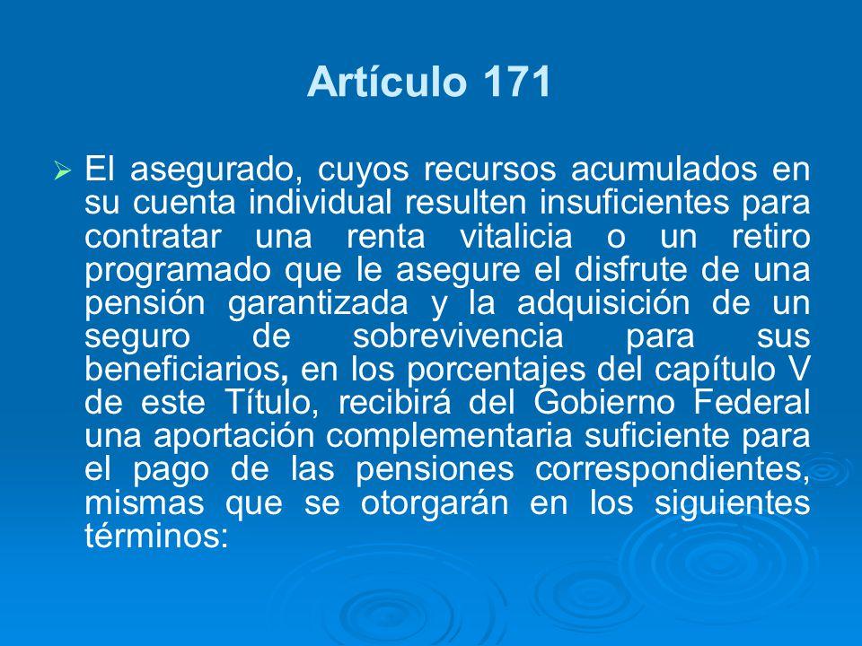Artículo 171 El asegurado, cuyos recursos acumulados en su cuenta individual resulten insuficientes para contratar una renta vitalicia o un retiro pro