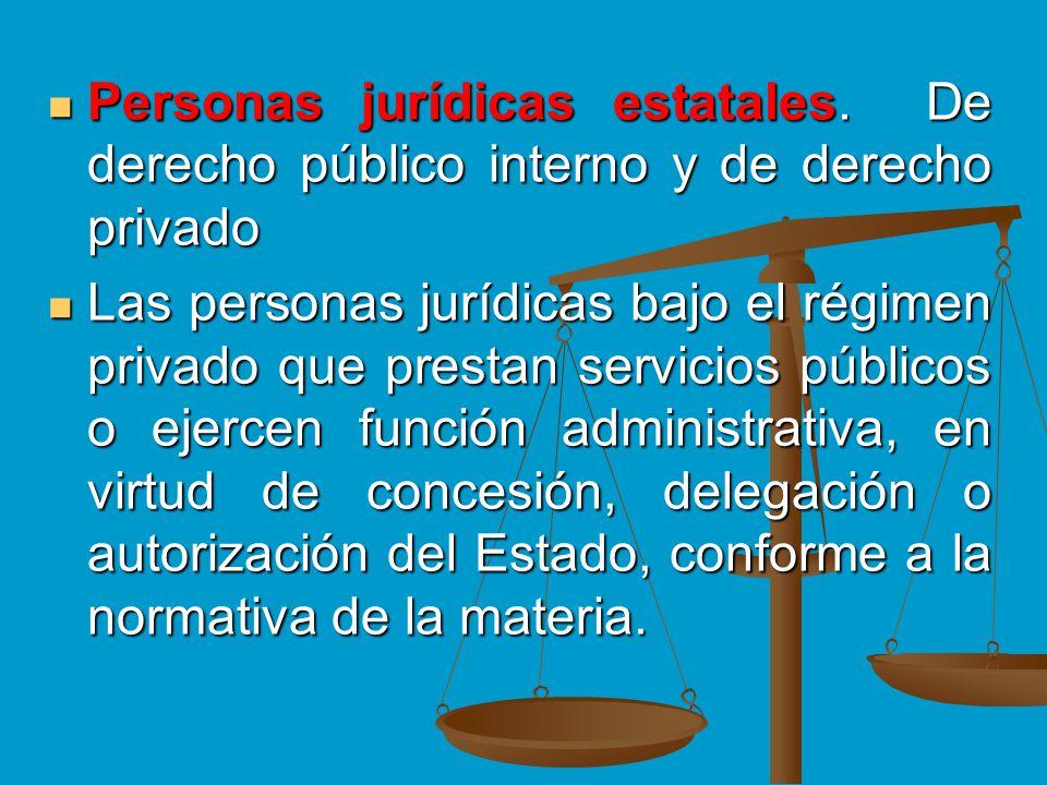 Personas jurídicas estatales. De derecho público interno y de derecho privado Personas jurídicas estatales. De derecho público interno y de derecho pr