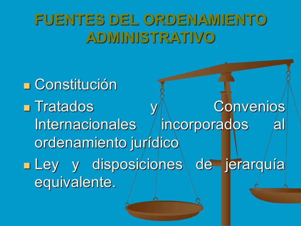 FUENTES DEL ORDENAMIENTO ADMINISTRATIVO Constitución Constitución Tratados y Convenios Internacionales incorporados al ordenamiento jurídico Tratados
