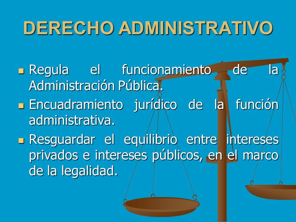 DERECHO ADMINISTRATIVO Regula el funcionamiento de la Administración Pública. Regula el funcionamiento de la Administración Pública. Encuadramiento ju