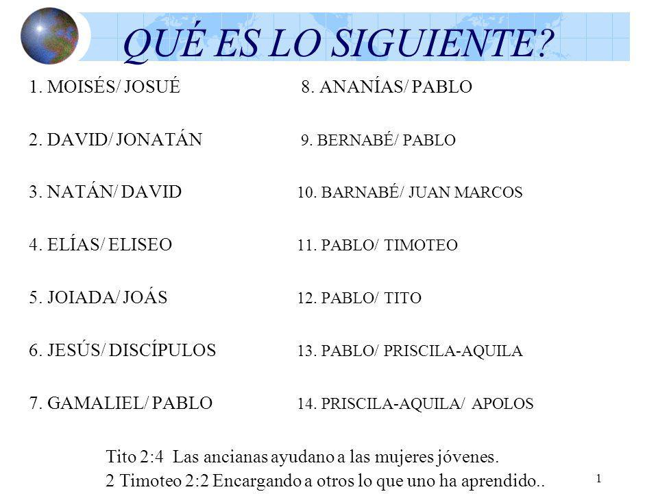 1 QUÉ ES LO SIGUIENTE? 1. MOISÉS/ JOSUÉ 8. ANANÍAS/ PABLO 2. DAVID/ JONATÁN 9. BERNABÉ/ PABLO 3. NATÁN/ DAVID 10. BARNABÉ/ JUAN MARCOS 4. ELÍAS/ ELISE