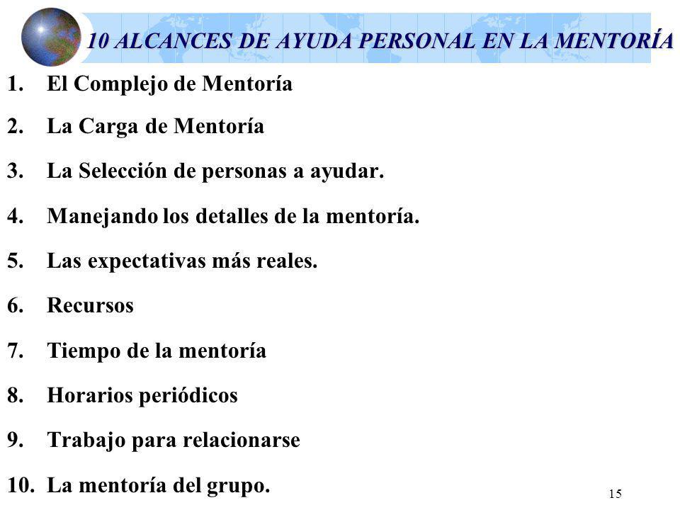 15 10 ALCANCES DE AYUDA PERSONAL EN LA MENTORÍA 1.El Complejo de Mentoría 2.La Carga de Mentoría 3.La Selección de personas a ayudar.