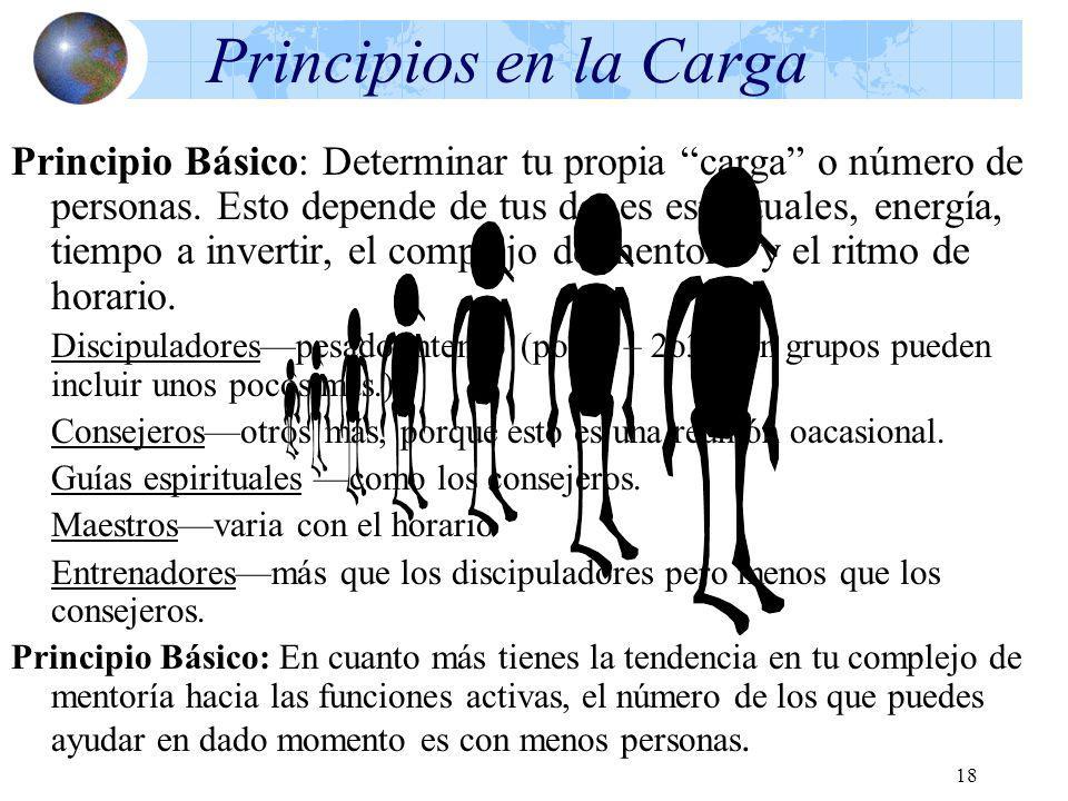 18 Principios en la Carga Principio Básico: Determinar tu propia carga o número de personas. Esto depende de tus dones espirituales, energía, tiempo a