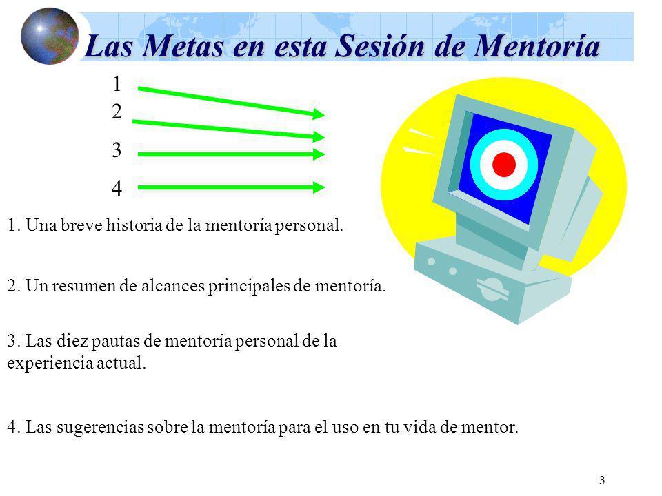 3 Las Metas en esta Sesión de Mentoría 1. Una breve historia de la mentoría personal. 2. Un resumen de alcances principales de mentoría. 3. Las diez p