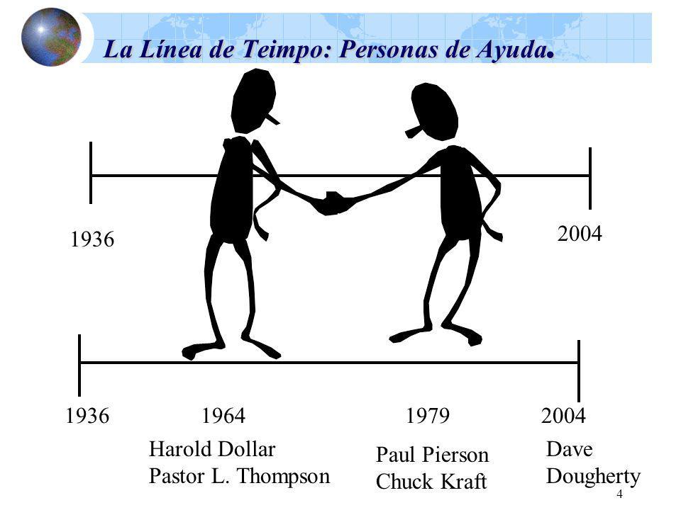 4 La Línea de Teimpo: Personas de Ayuda. 1936 2004 1936196419792004 Harold Dollar Pastor L. Thompson Paul Pierson Chuck Kraft Dave Dougherty