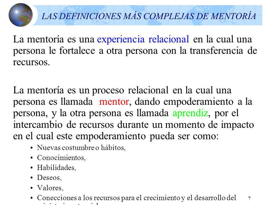 7 LAS DEFINICIONES MÁS COMPLEJAS DE MENTORÍA La mentoría es una experiencia relacional en la cual una persona le fortalece a otra persona con la transferencia de recursos.