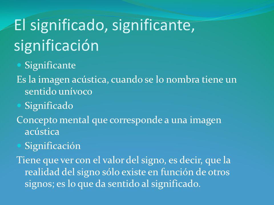 El significado, significante, significación Significante Es la imagen acústica, cuando se lo nombra tiene un sentido unívoco Significado Concepto mental que corresponde a una imagen acústica Significación Tiene que ver con el valor del signo, es decir, que la realidad del signo sólo existe en función de otros signos; es lo que da sentido al significado.