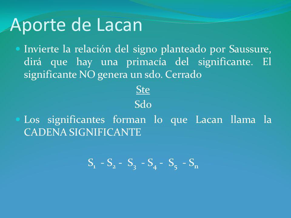 Aporte de Lacan Invierte la relación del signo planteado por Saussure, dirá que hay una primacía del significante.