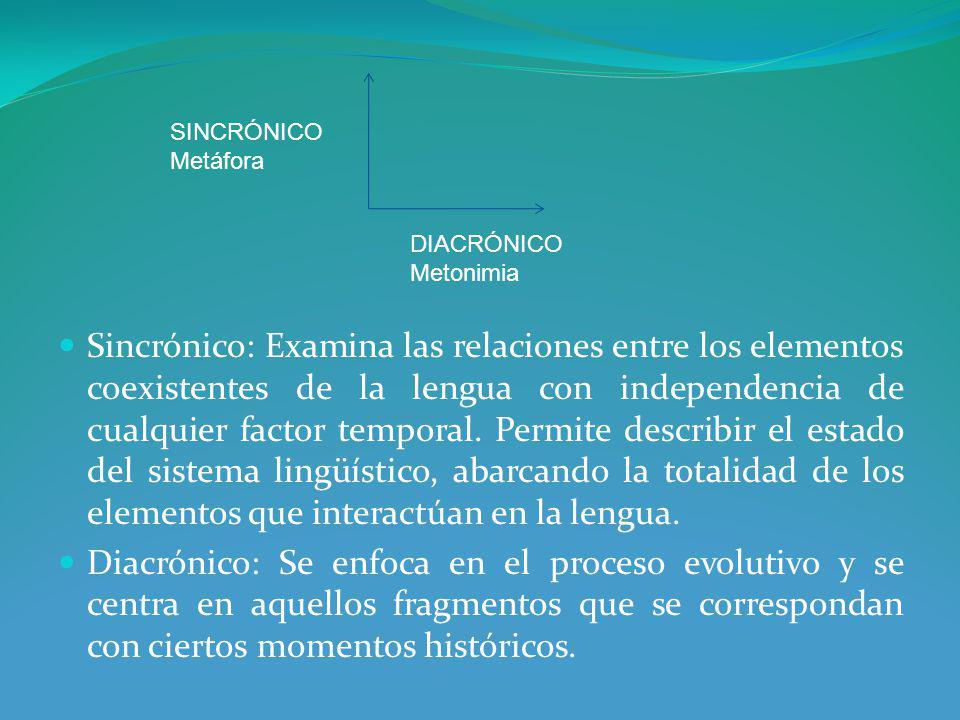 Sincrónico: Examina las relaciones entre los elementos coexistentes de la lengua con independencia de cualquier factor temporal.
