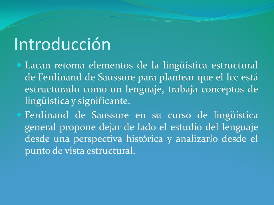 Introducción Lacan retoma elementos de la lingüística estructural de Ferdinand de Saussure para plantear que el Icc está estructurado como un lenguaje, trabaja conceptos de lingüística y significante.