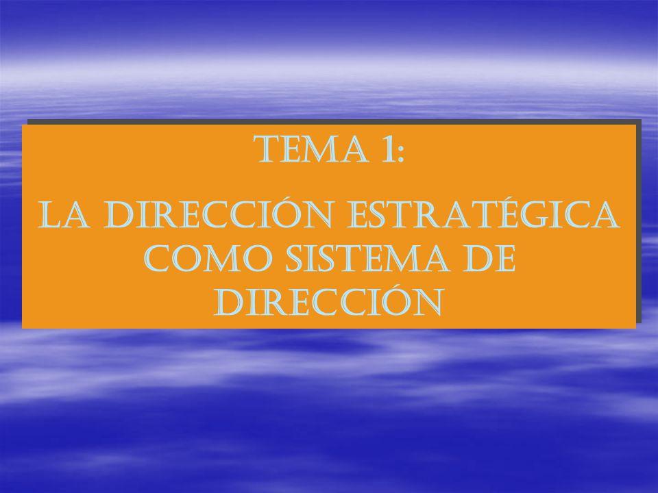 TEMA 1: LA DIRECCIÓN ESTRATÉGICA COMO SISTEMA DE DIRECCIÓN TEMA 1: LA DIRECCIÓN ESTRATÉGICA COMO SISTEMA DE DIRECCIÓN