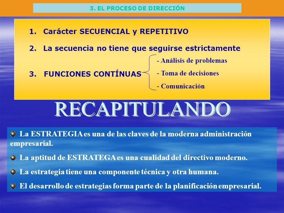 3. EL PROCESO DE DIRECCIÓN 1.Carácter SECUENCIAL y REPETITIVO 2.La secuencia no tiene que seguirse estrictamente 3. FUNCIONES CONTÍNUAS - Análisis de