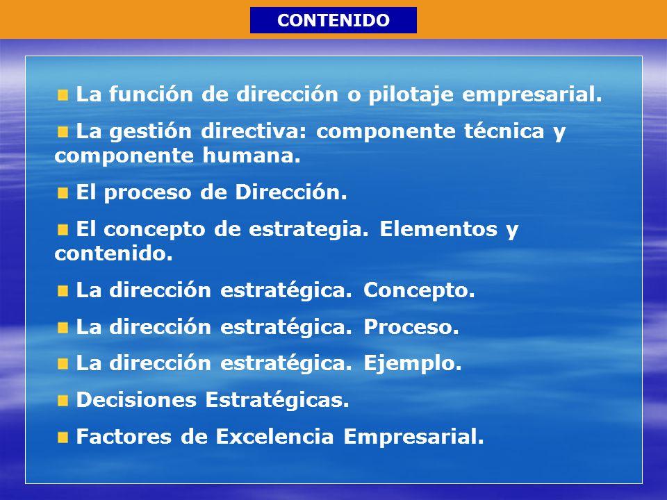 La función de dirección o pilotaje empresarial. La gestión directiva: componente técnica y componente humana. El proceso de Dirección. El concepto de