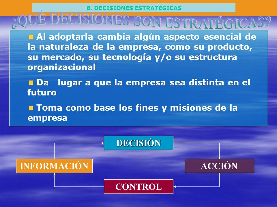 8. DECISIONES ESTRATÉGICAS Al adoptarla cambia algún aspecto esencial de la naturaleza de la empresa, como su producto, su mercado, su tecnología y/o
