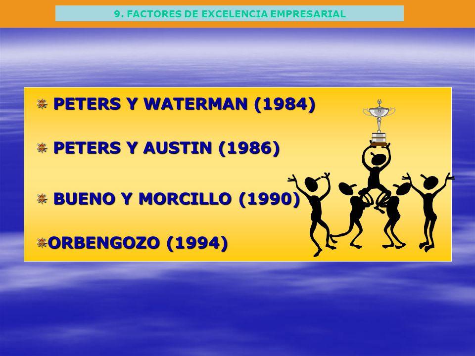 9. FACTORES DE EXCELENCIA EMPRESARIAL PETERS Y WATERMAN (1984) PETERS Y WATERMAN (1984) PETERS Y AUSTIN (1986) PETERS Y AUSTIN (1986) BUENO Y MORCILLO