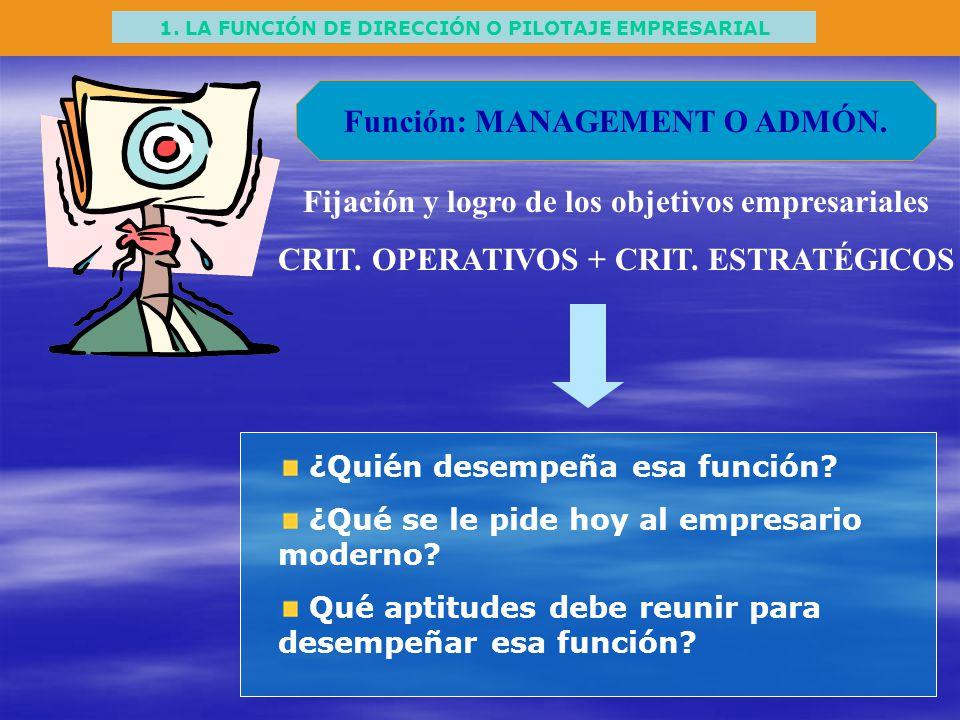1. LA FUNCIÓN DE DIRECCIÓN O PILOTAJE EMPRESARIAL Función: MANAGEMENT O ADMÓN. Fijación y logro de los objetivos empresariales CRIT. OPERATIVOS + CRIT