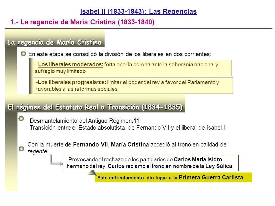 Tras un primer período muy conservador (Cea Bermúdez) la dirección del gobierno recayó en manos del liberal Martínez de la Rosa -La primera y tímida reforma fue el Estatuto Real DOC.