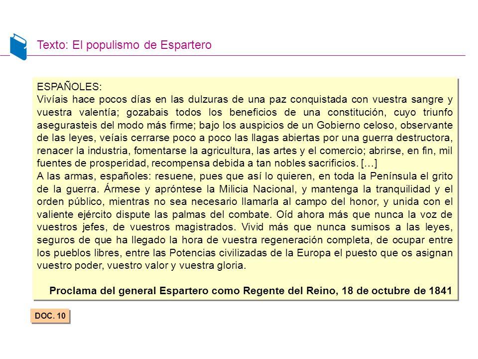 Texto: El populismo de Espartero DOC. 10 ESPAÑOLES: Vivíais hace pocos días en las dulzuras de una paz conquistada con vuestra sangre y vuestra valent