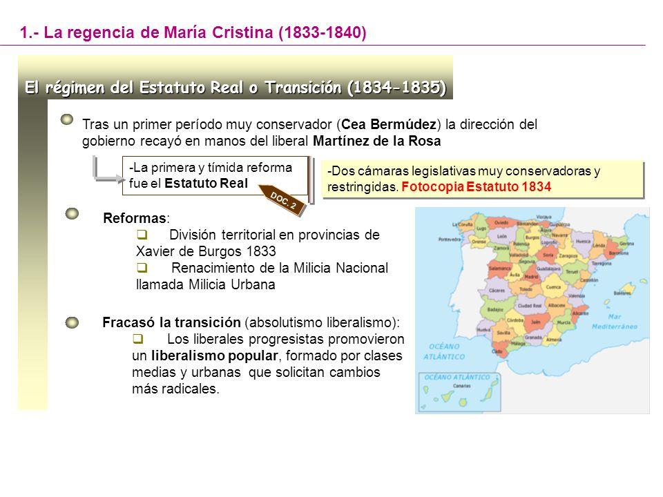 Tras un primer período muy conservador (Cea Bermúdez) la dirección del gobierno recayó en manos del liberal Martínez de la Rosa -La primera y tímida r