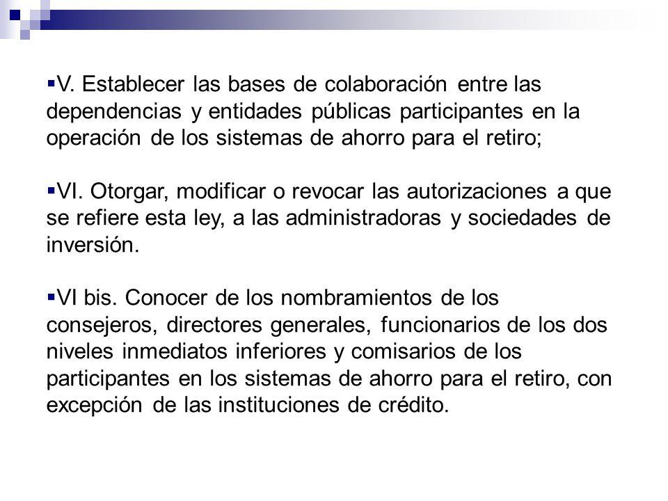 V. Establecer las bases de colaboración entre las dependencias y entidades públicas participantes en la operación de los sistemas de ahorro para el re