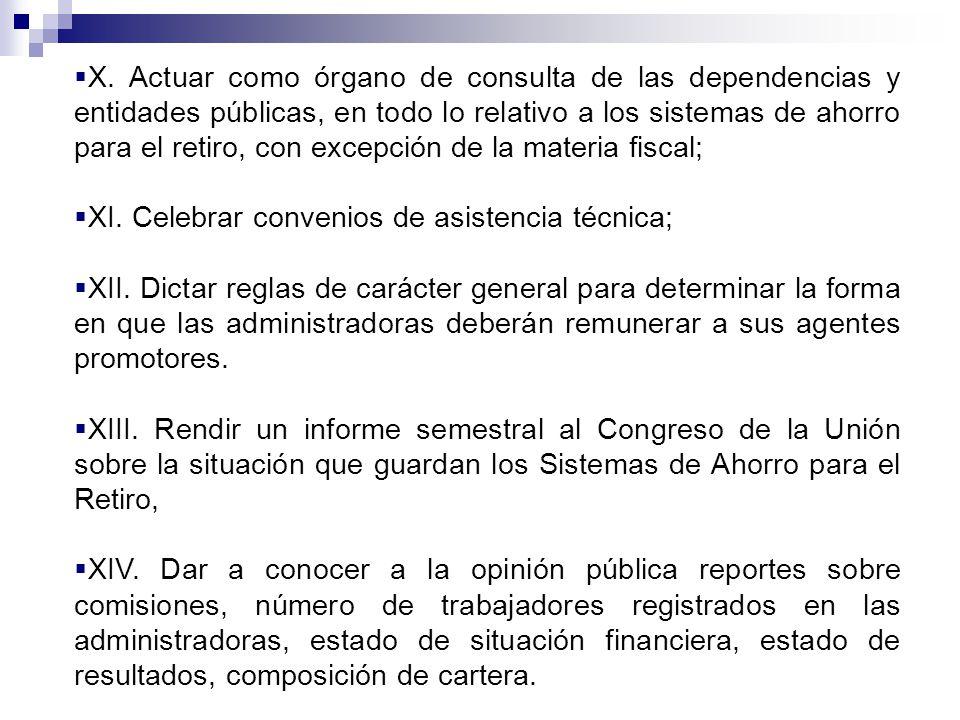 X. Actuar como órgano de consulta de las dependencias y entidades públicas, en todo lo relativo a los sistemas de ahorro para el retiro, con excepción