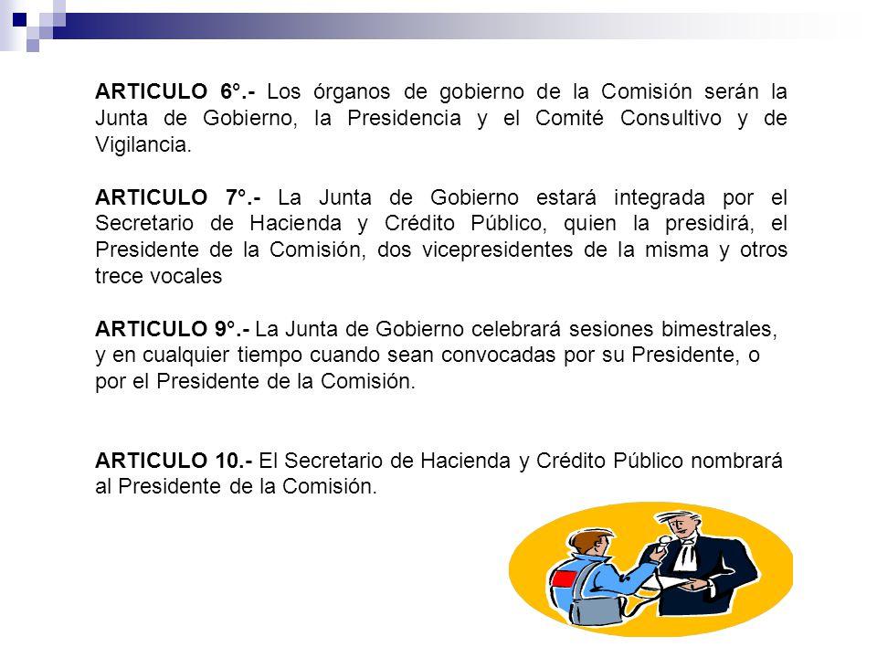 ARTICULO 6°.- Los órganos de gobierno de la Comisión serán la Junta de Gobierno, la Presidencia y el Comité Consultivo y de Vigilancia.