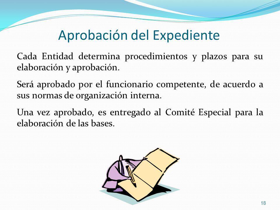 Aprobación del Expediente Cada Entidad determina procedimientos y plazos para su elaboración y aprobación. Será aprobado por el funcionario competente