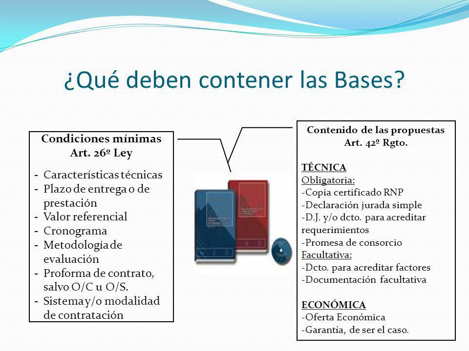 ¿Qué deben contener las Bases? Contenido de las propuestas Art. 42º Rgto. TÉCNICA Obligatoria: -Copia certificado RNP -Declaración jurada simple -D.J.