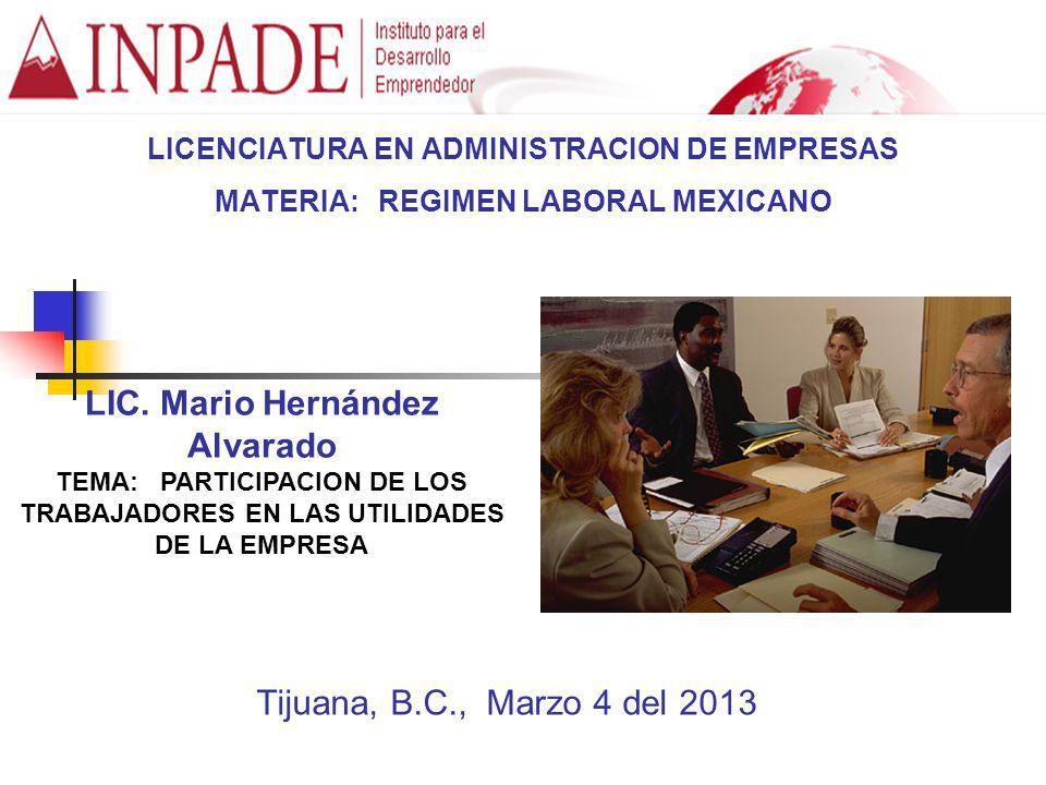 LICENCIATURA EN ADMINISTRACION DE EMPRESAS MATERIA: REGIMEN LABORAL MEXICANO LIC. Mario Hernández Alvarado TEMA: PARTICIPACION DE LOS TRABAJADORES EN