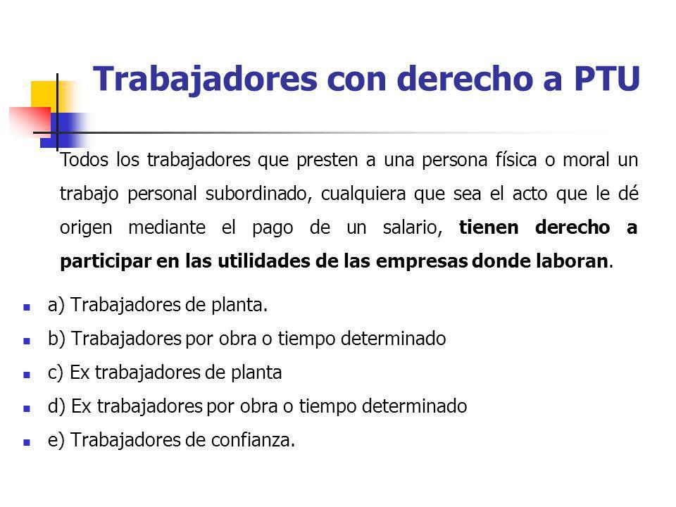 a) Trabajadores de planta. b) Trabajadores por obra o tiempo determinado c) Ex trabajadores de planta d) Ex trabajadores por obra o tiempo determinado