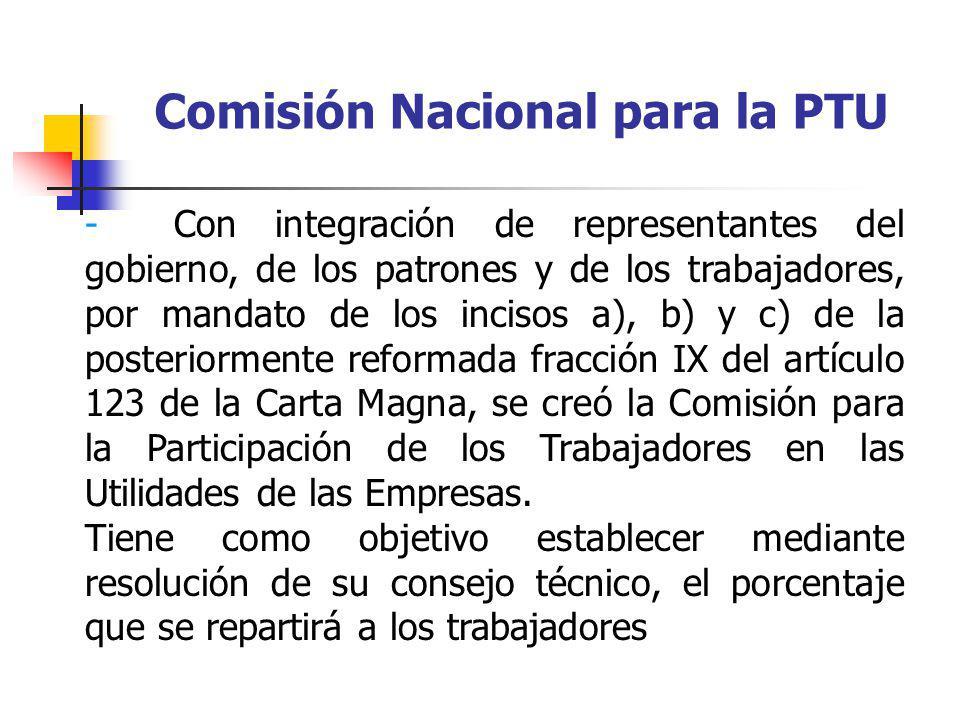 Comisión Nacional para la PTU - Con integración de representantes del gobierno, de los patrones y de los trabajadores, por mandato de los incisos a),