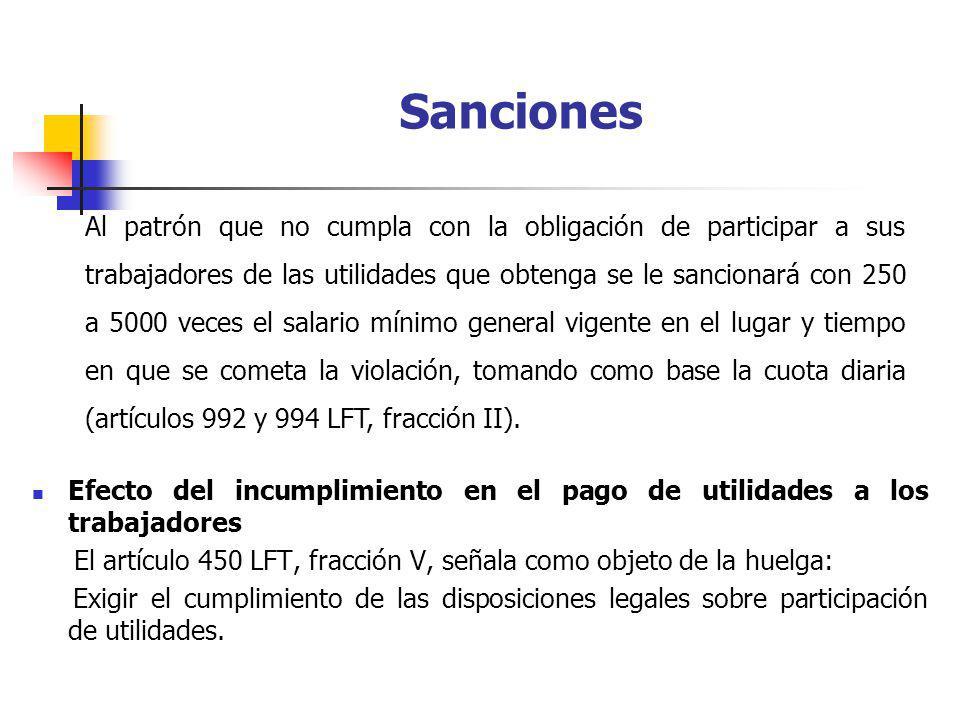 Efecto del incumplimiento en el pago de utilidades a los trabajadores El artículo 450 LFT, fracción V, señala como objeto de la huelga: Exigir el cump