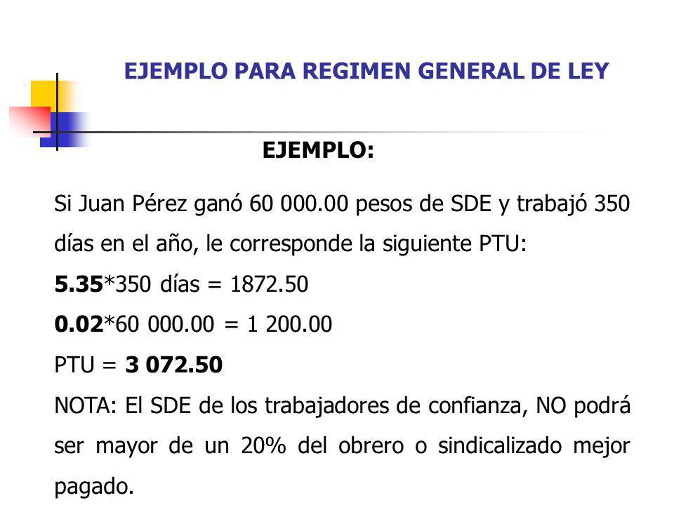 EJEMPLO PARA REGIMEN GENERAL DE LEY Si Juan Pérez ganó 60 000.00 pesos de SDE y trabajó 350 días en el año, le corresponde la siguiente PTU: 5.35*350