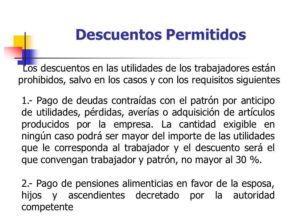 Descuentos Permitidos 1.- Pago de deudas contraídas con el patrón por anticipo de utilidades, pérdidas, averías o adquisición de artículos producidos