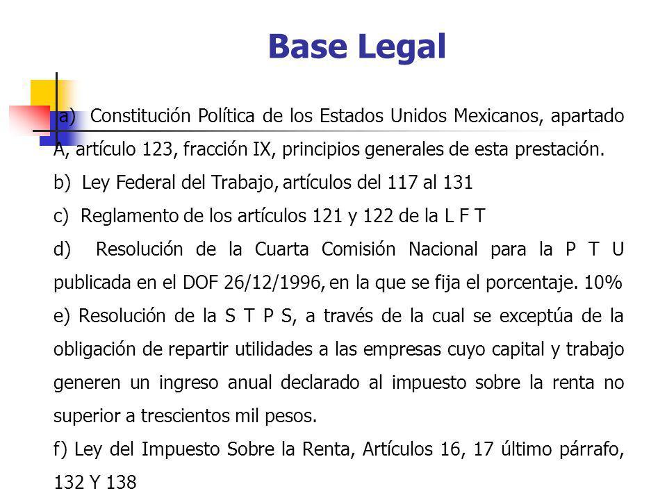 Base Legal a) Constitución Política de los Estados Unidos Mexicanos, apartado A, artículo 123, fracción IX, principios generales de esta prestación. b