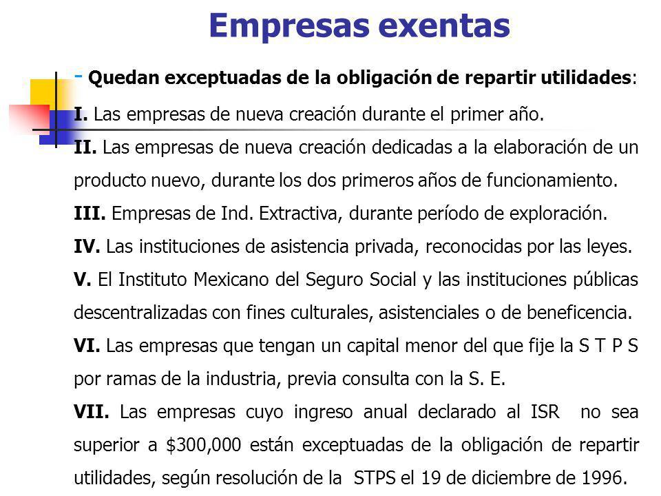 EJEMPLO PARA REGIMEN GENERAL DE LEY - EJEMPLO Ingresos Acumulables 1 000 000.00 (-) Deducciones Autorizadas 180 000.00 (=) Base de PTU (base contable) 820 000.00 (x) 10% X 10%.