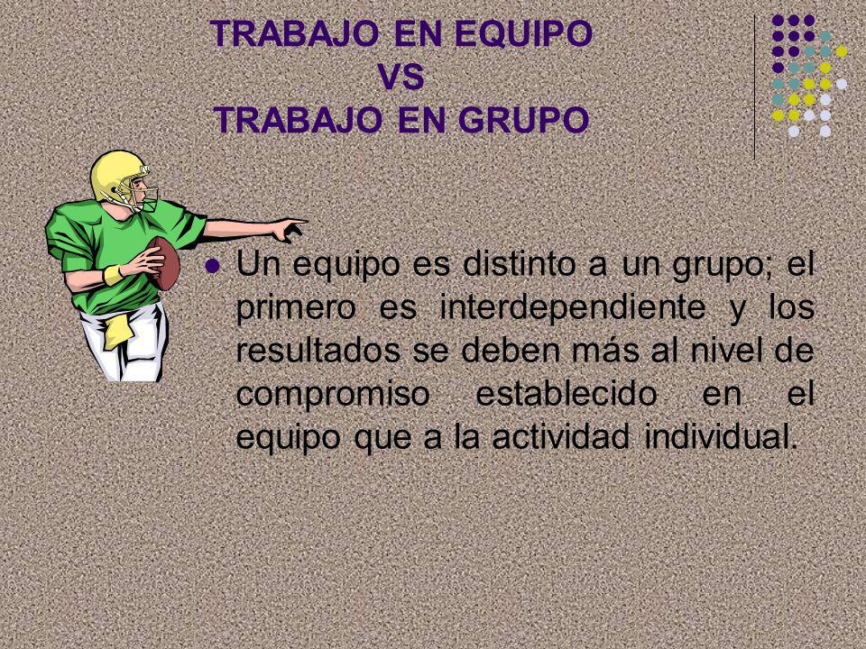 TRABAJO EN EQUIPO VS TRABAJO EN GRUPO Un equipo es distinto a un grupo; el primero es interdependiente y los resultados se deben más al nivel de compr