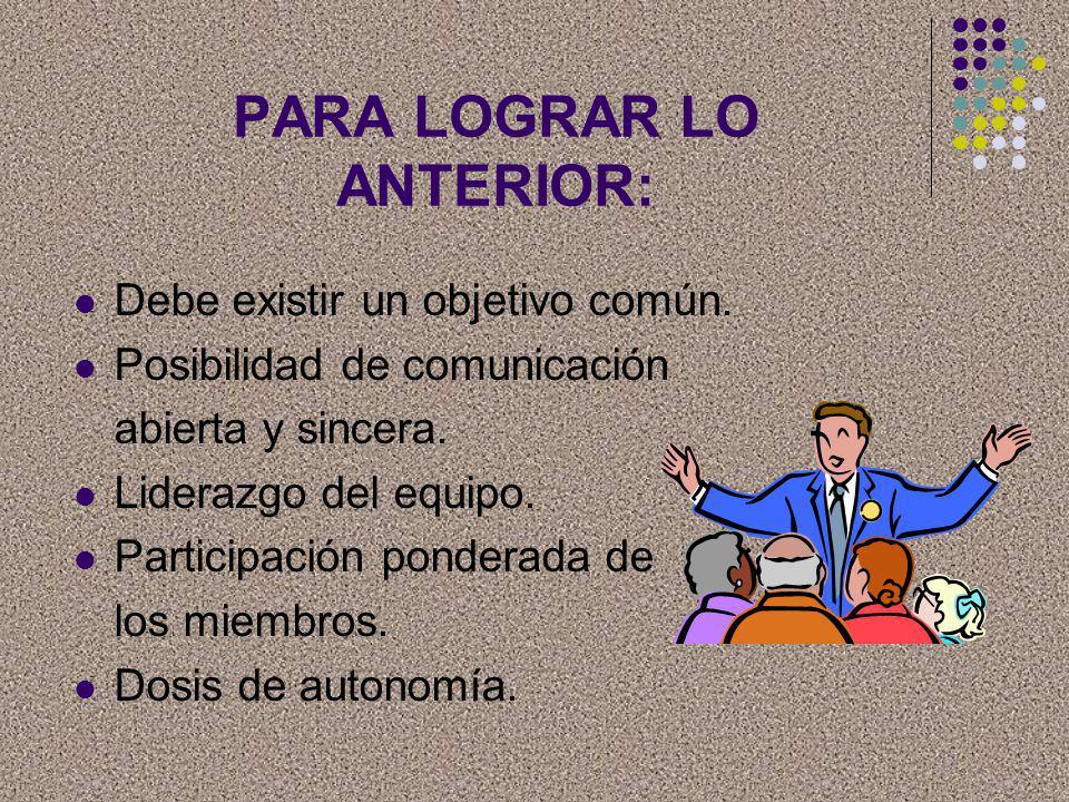 PARA LOGRAR LO ANTERIOR: Debe existir un objetivo común. Posibilidad de comunicación abierta y sincera. Liderazgo del equipo. Participación ponderada