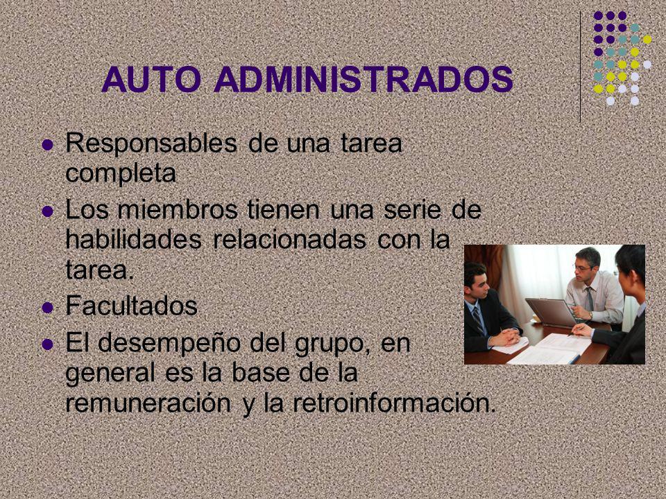 AUTO ADMINISTRADOS Responsables de una tarea completa Los miembros tienen una serie de habilidades relacionadas con la tarea. Facultados El desempeño