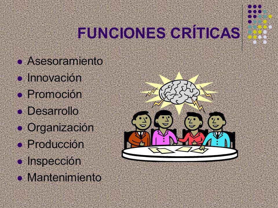 FUNCIONES CRÍTICAS Asesoramiento Innovación Promoción Desarrollo Organización Producción Inspección Mantenimiento
