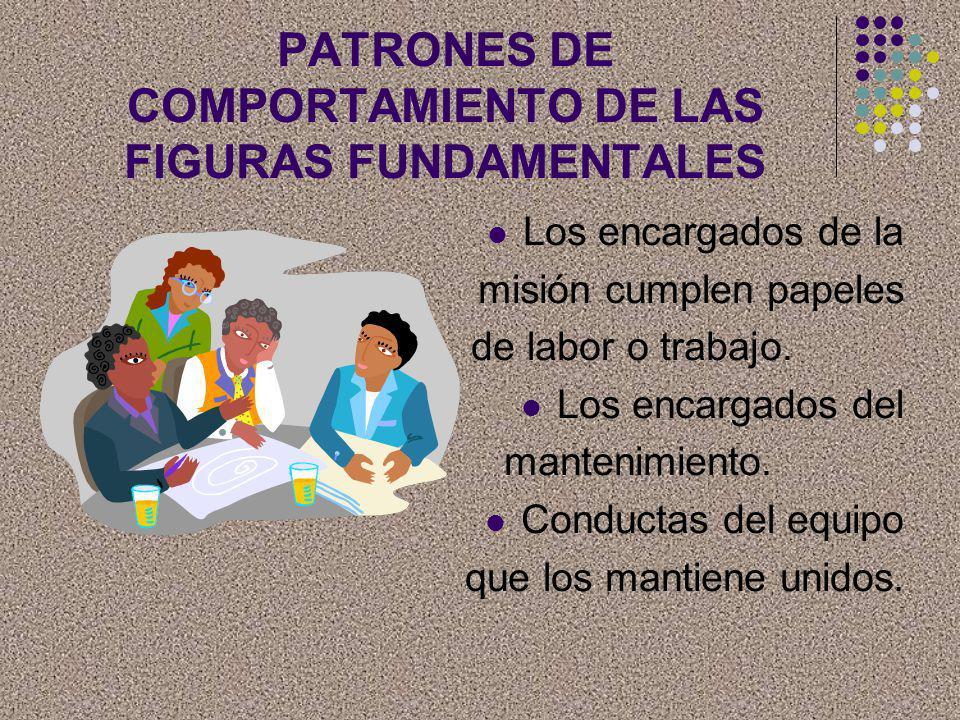 PATRONES DE COMPORTAMIENTO DE LAS FIGURAS FUNDAMENTALES Los encargados de la misión cumplen papeles de labor o trabajo. Los encargados del mantenimien
