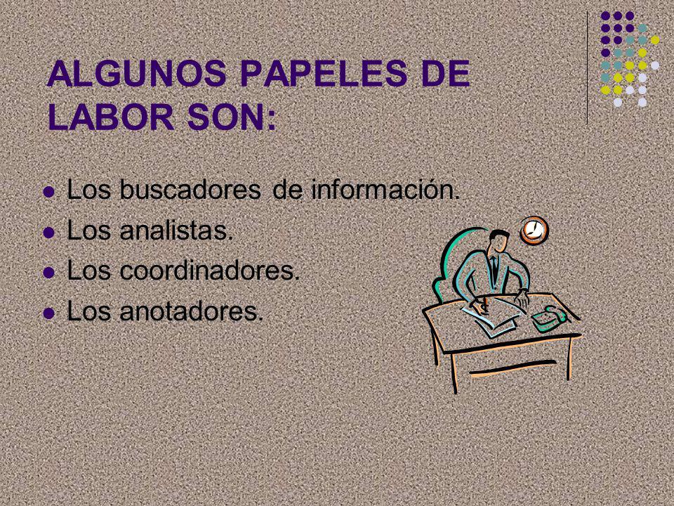 ALGUNOS PAPELES DE LABOR SON: Los buscadores de información. Los analistas. Los coordinadores. Los anotadores.