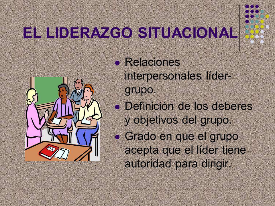 EL LIDERAZGO SITUACIONAL Relaciones interpersonales líder- grupo. Definición de los deberes y objetivos del grupo. Grado en que el grupo acepta que el