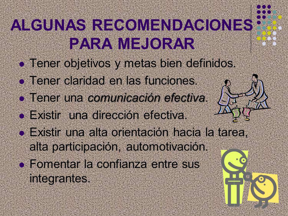 ALGUNAS RECOMENDACIONES PARA MEJORAR Tener objetivos y metas bien definidos. Tener claridad en las funciones. comunicación efectiva Tener una comunica