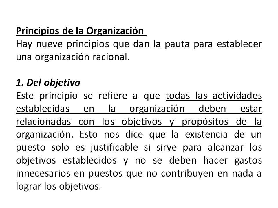 Principios de la Organización Hay nueve principios que dan la pauta para establecer una organización racional. 1. Del objetivo Este principio se refie