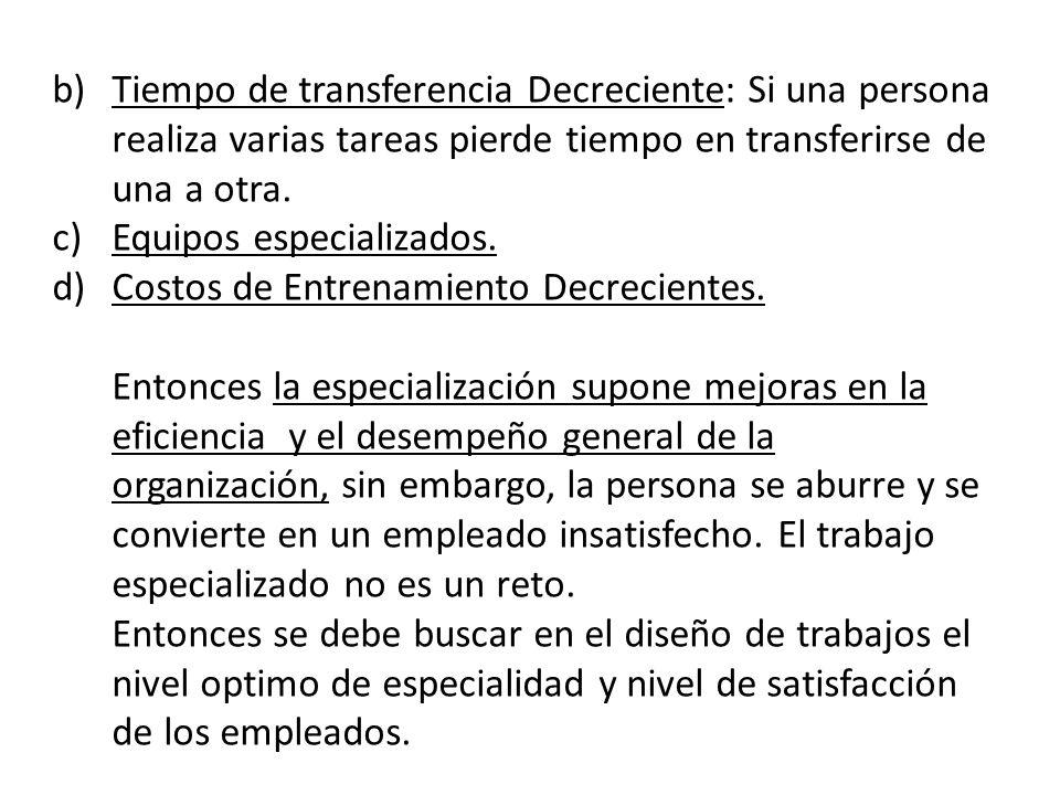b)Tiempo de transferencia Decreciente: Si una persona realiza varias tareas pierde tiempo en transferirse de una a otra. c)Equipos especializados. d)C